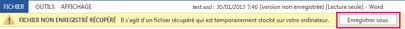 Enregistrement d'un fichier récupéré dans Word2013