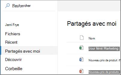 Afficher la capture d'écran de la partagés avec moi dans OneDrive entreprise