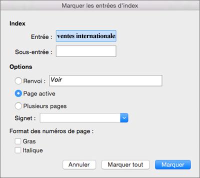 Les options Marquer les entrées d'index sont affichées