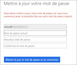 Office365 invite l'utilisateur à créer un nouveau mot de passe.