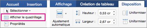L'option Afficher le quadrillage est mise en évidence sous l'onglet Insertion.