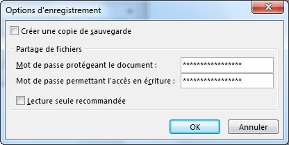 Image de la boîte de dialogue Options d'enregistrement