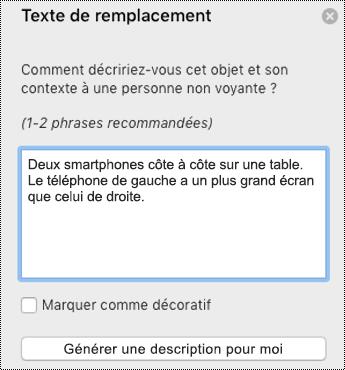Texte de remplacement dans PowerPoint pour Mac