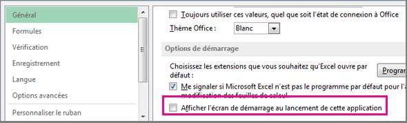 Option Excel de désactivation de l'écran d'accueil à l'ouverture d'Excel