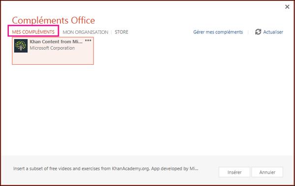 Boîte de dialogue Compléments Office avec l'option Mes compléments mise en évidence