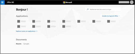 Page d'accueil d'Office365