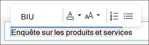 Options de mise en forme, telles que gras, souligné et italique, dans Microsoft Forms