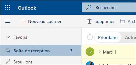 Capture d'écran de la messagerie dans Outlook sur le Web (bêta)