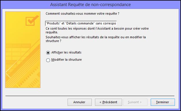 Entrez le nom d'une requête de non-correspondance dans la boîte de dialogue Assistant Requête de non-correspondance.