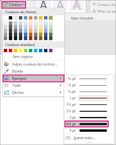 Afficher différentes épaisseurs de trait dans Office