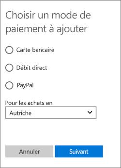 Menu Choisir une option de paiement affichant les options disponibles pour l'Autriche