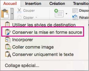 Option Conserver la mise en forme source dans le menu Coller