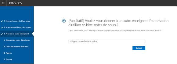 Capture d'écran de l'étape autorisations facultatif enseignant supplémentaires.