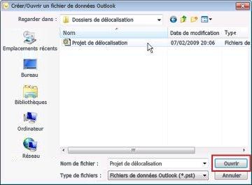 Boîte de dialogue Créer/Ouvrir un fichier de données Outlook