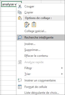 Recherche intelligente dans le menu contextuel dans Excel2016 pour Windows