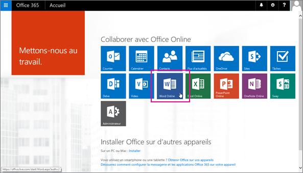 Sélectionnez une application OfficeOnline