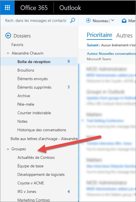 Vous trouverez vos groupes dans le volet de navigation situé à gauche dans Outlook ou Outlook sur le Web.