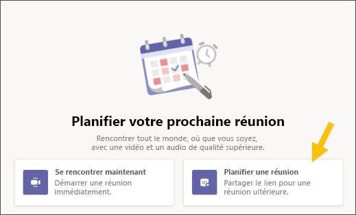 Sélectionner le bouton Planifier une réunion