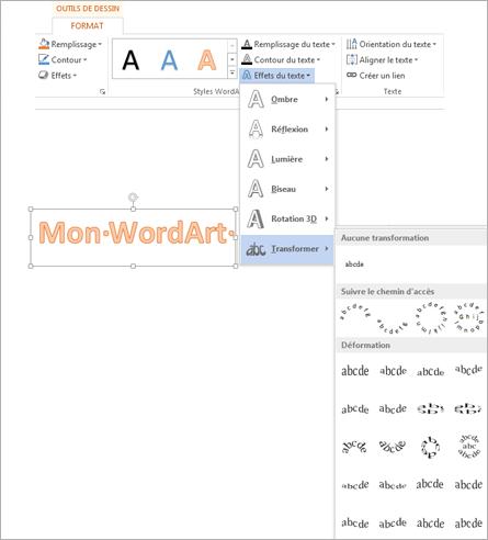 Option Effets du texte dans l'onglet Outils de dessin - Format avec la galerie Transformer ouverte