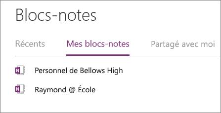 Personnel enseignant dans votre section Mon bloc-notes dans OneNote en ligne