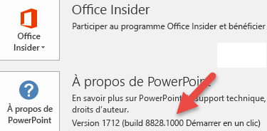Capture d'écran affichant la version et le numéro de build en regard du bouton À propos de PowerPoint.