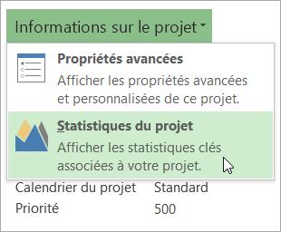Options Informations sur le projet