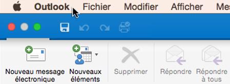 Pour identifier la version d'Outlook que vous utilisez, sélectionnez Outlook dans votre barre de menus.
