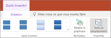 Bouton texte de remplacement dans le ruban d'un graphique SmartArt dans PowerPoint online.
