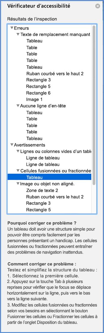 Capture d'écran du menu Vérificateur d'accessibilité