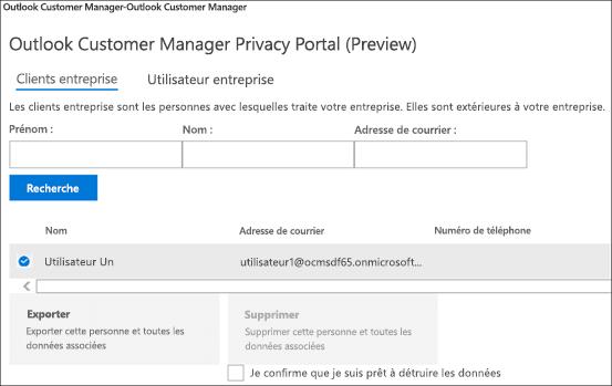 Capture d'écran: Données du Gestionnaire de clients Outlook Exporter client