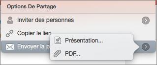 Options de partage par courrier électronique dans PowerPoint pour Mac