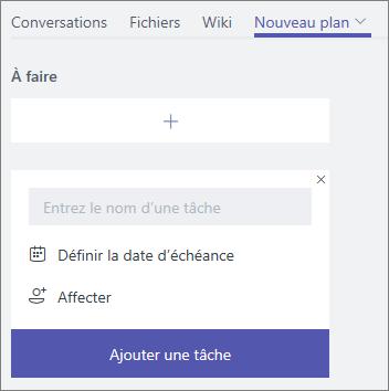 Capture d'écran d'un onglet de plan nouvellement ajouté dans Microsoft Teams