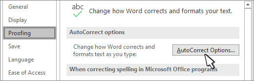 Autocorrect options button on the Proofing dialog