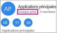 Exemple de carte de groupe avec «groupe privé» en surbrillance