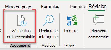 Interface utilisateur pour l'ouverture du Vérificateur d'accessibilité