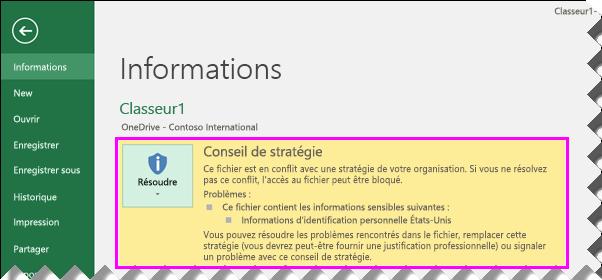 Le mode Backstage affiche les conseils de stratégie dans Excel2016