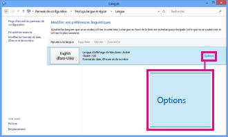 Ajout d'une méthode d'entrée dans le Panneau de configuration dans Windows8