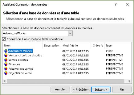 Assistant connexion de données > sélectionnez base de données et une table