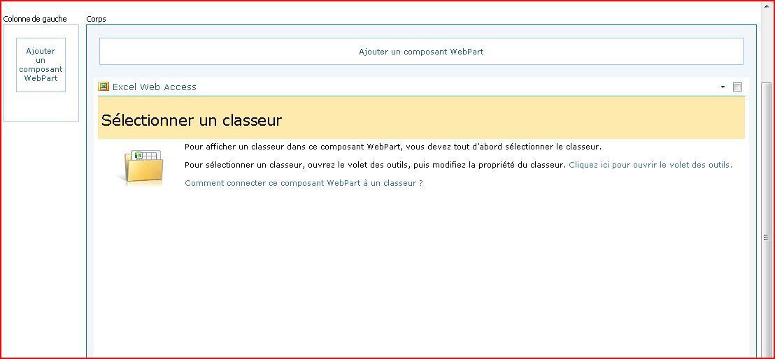 Le composant WebPart Excel Web Access affiche un volet Sélectionner un classeur