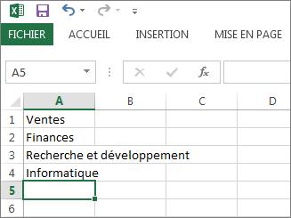 Créez votre liste déroulante d'entrées dans une colonne ou une ligne dans Excel
