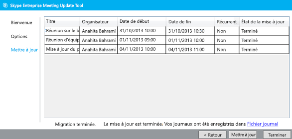 Capture d'écran de l'outil de migration de réunion terminé