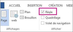 Capture d'écran de l'onglet Affichage dans Word2013, avec l'option Règle sélectionnée et mise en surbrillance