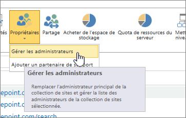 Bouton propriétaires d'administrateur de Site de SPO avec gérer les administrateurs mis en surbrillance.