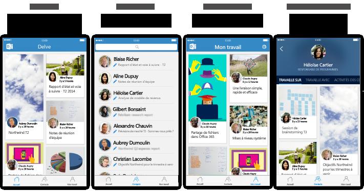 Quatre écrans Delve pour iPhone avec un texte de description