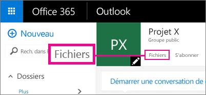 Capture d'écran d'un clic sur les fichiers dans un groupe pour accéder à OneDrive pour le groupe