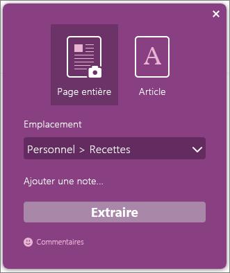 Capture d'écran de la boîte de dialogue OneNote Clipper