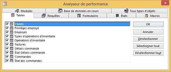 Boîte de dialogue Analyseur de performance dans Access