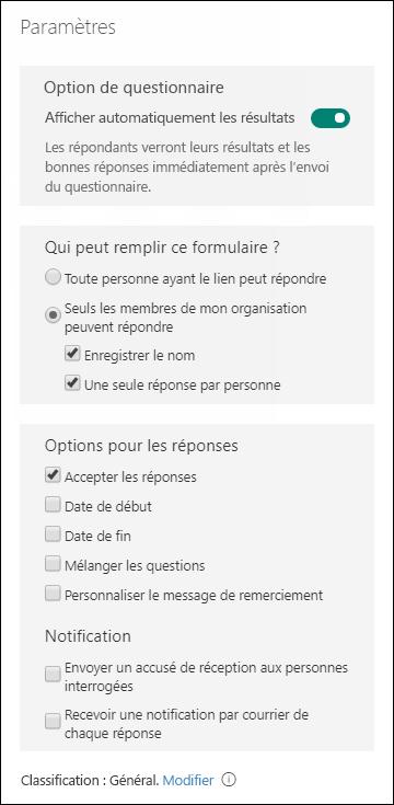 Paramètres pour les formulaires et questionnaires