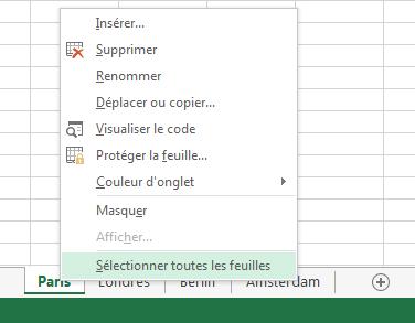 Dans le menu contextuel, l'option Sélectionner toutes les feuilles a été sélectionnée.