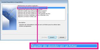 Option Exporter vers un fichier dans l'Assistant d'Importation et d'Exportation